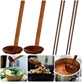 2 Pieces Japanese Long Handle Large Spoon, Ramen Spoon Wooden Spoons, Drink Soup Tortoise Shell Hot Pot Spoon Wood Rice Soup Dessert Spoon 2 Pairs Wooden Chopsticks for Kitchen Dinner
