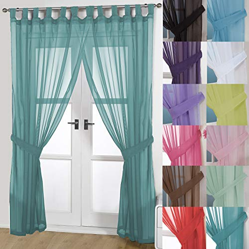 John Aird Pair Of Woven Voile Tab Top Curtain Panels. Free Tiebacks Included (Teal, 58' Wide x 90' Drop)