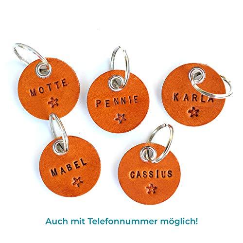 HUNDEMARKE / Tiermarke aus Leder, personalisierbar mit Hundenamen + Telefonnummer, veredelt mit Lederfinish, Schlüsselring, Namens-Anhänger für Halsband oder Leine, Haustier ID Tag, Erkennungsmarke