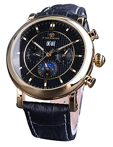 Forsining Multifunción 3 Dial Moda Negro Relojes Mecánicos Retro Hombres Calendario Automático Luminoso Reloj de Pulsera con Correa de Cuero Genuino