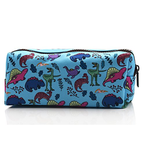LParkin Dinosaur Canvas Pencil Case Pen Bag Pouch Stationary Case Makeup Cosmetic Bag (Blue)