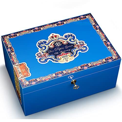 Caja humidificadora de Puros Vintage, Caja de Almacenamiento de Cedro Hecha a Mano de 2 Niveles con higrómetro humidificador, Recipiente de Puros para 60-75 Puros (Color : Blue, Size : 35×25×16cm)