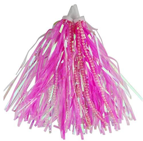 Upstore - 1 paio di nastri lunghi da 24 cm, per scooter e bici, con perline, per manubrio, pon pon, con impugnatura luccicante, accessori per la decorazione del bambino (rosa)