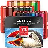 Arteza Lápices acuarelables profesionales, juego de 72, estuche de lápices de colores de dibujo artístico, tonos surtidos brillantes para colorear, mezclar y crear capas con técnicas de acuarela