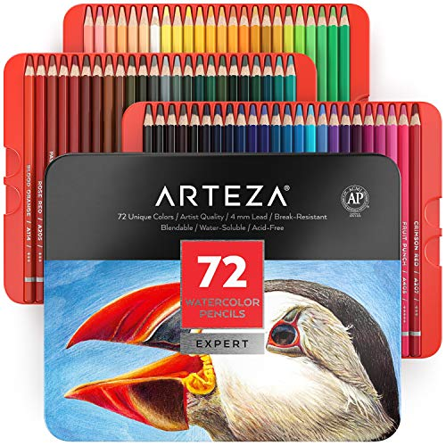 Arteza Aquarellstifte, 72 Aquarell Buntstifte Set, Stifte für Aquarellmalerei in tragbarer Metallbox, wasserlösliche Farbstifte zum Mischen, Schichten & Aquarellieren, professioneller Künstlerbedarf