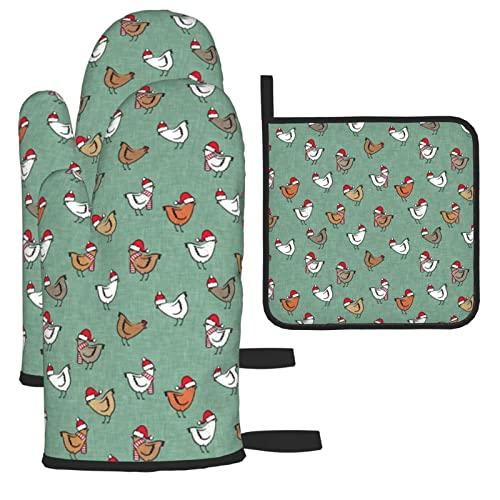 Weihnachtshühner Niedliche Muster Ofenhandschuhe und Topflappen Isolierte Handschuhe & Küchentheke Sichere Matten zum Kochen BBQ Backen Grillen (3-teiliges Set)