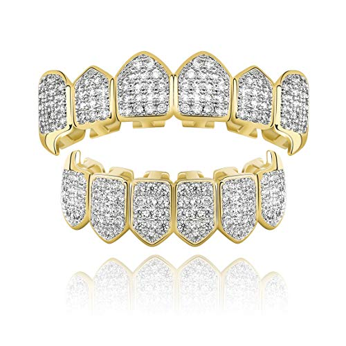 TOPGRILLZ Diamond Grills 18K Gold Plated Fully Iced Out CZ Vampire Top and Bottom Face Mouth Grillz for Your Teeth Men Women with Extra Molding Bars