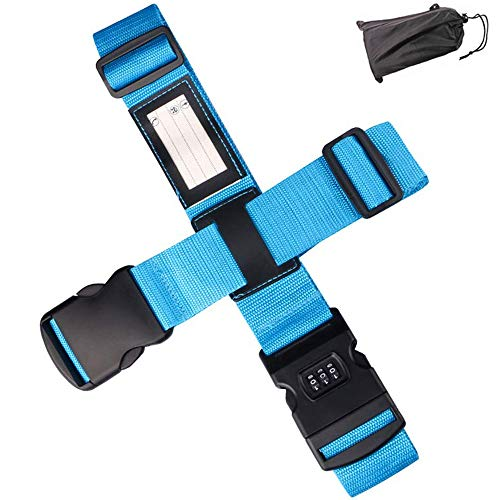 Amaoma Cross Luggage Straps for Suitcases Adjustable Suitcase Straps with Combination Locks Non-Slip Travel Packing Belts for Safe Closing of Your Suitcase and Identify Your Luggage on Vacation Blue