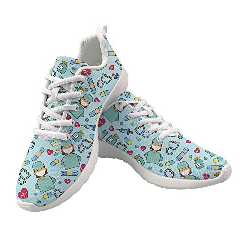 POLERO Nurse - Zapatillas de Mujer para Enfermera, Ligeras, para Correr, Caminar, Malla, Planas, para Tenis, para Mujer, Deportes, Apartamentos, Azul, Talla 39