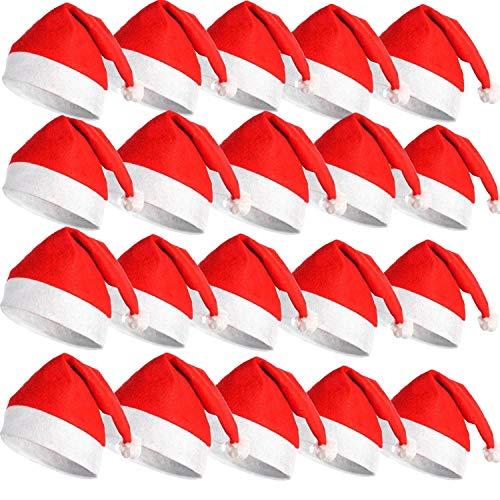 EMIN 20 Stück Weihnachtsmützen 28x36cm Nikolausmütze Weihnachtsmann Mütze Rote Santa Mütze Nikolaus