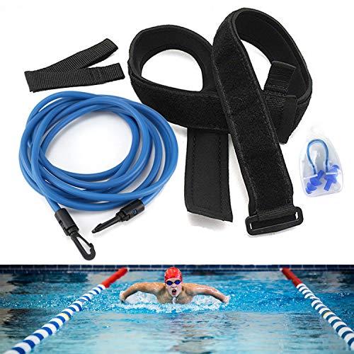 Osugin - Cinturón de entrenamiento de natación, cuerda elástica de natación, equipo de ejercicio para entrenamiento de resistencia estacionaria (azul)