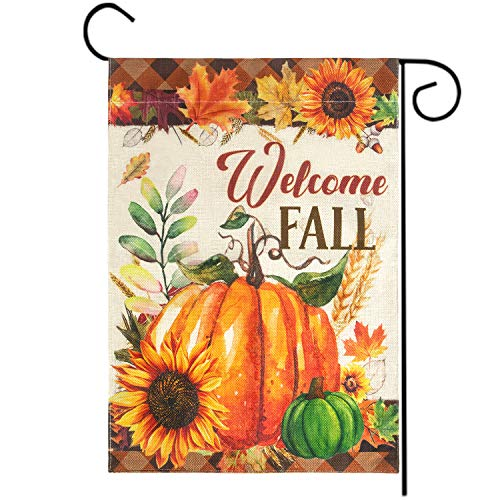 """Welcome Fall Garden Flag, Double Sided Autumn Pumpkins House Fall Flag Sunflowers Banners with Fall Leaves for Outside Farmhouse Garden Yard Pumpkin Decor Thanksgiving Decorations (12.5"""" x 18"""")"""