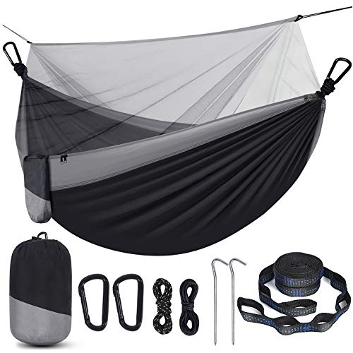 Camping Hammock with Net, Travel Portable Lightweight Hammock with Tree Straps and D-Shape...