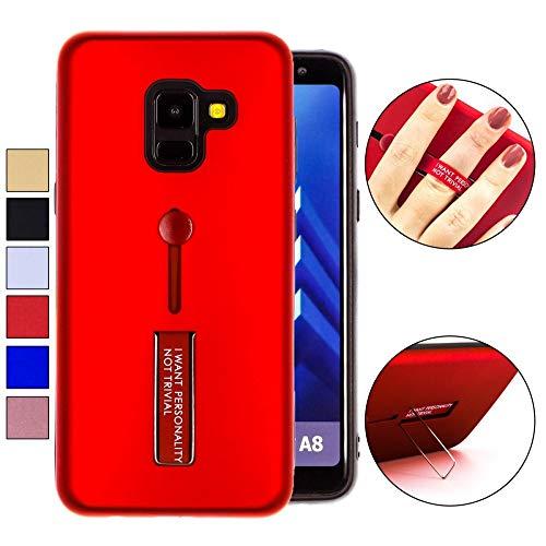 COOVY® Funda para Samsung Galaxy A8 SM-A530 / SM-A530N / SM-A530F/DS (Model 2018) Doble Capa de silicio TPU y plástico, extrafuerte, una función de sujeción con u n Dedo de la Correa | Color Rojo