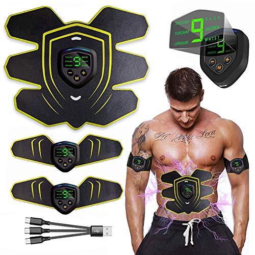 MATEHOM Electroestimulador Muscular Abdominales, USB Recargable EMS Estimulador Muscular Abdominales, para Abdomen/Cintura/Pierna/Brazo