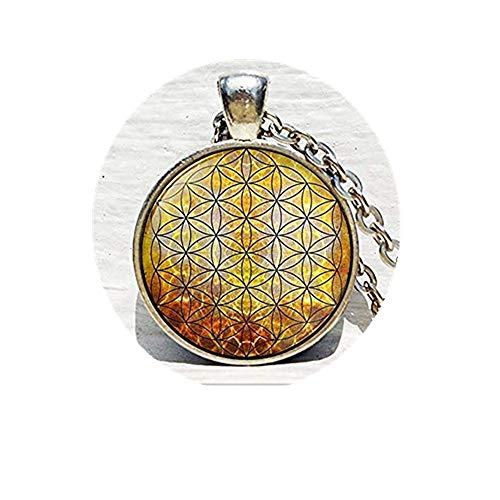 Collar de Oro con diseño de geometría Sagrada, Colgante de Flor de la Vida, Mandala de la Flor de la Vida, Colgante de Yoga, joyería de la Flor de la Vida
