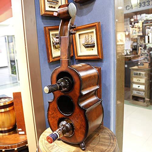 DSHRTY Portabottiglie Commercio all'ingrosso 3 bottiglie portabottiglie di vino verticale in legno rack bar casa violino creativo chitarra vino scaffale armadio scaffale, A