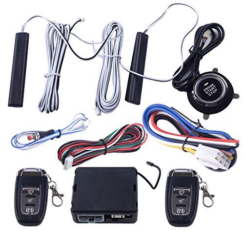 CITALL 9pcs 12V car PKE Passive keyless Entry Button Remote Starter Engine Start Stop Alarm System Set