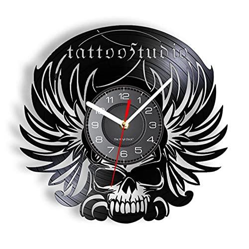 JKLMZYT Skull Death Tattoo Studio Reloj de Pared con Registro de Vinilo Vintage Reloj de Pared gótico Arte Tatuador Hombre Cueva Álbum Discos Decoración Reloj de Pared