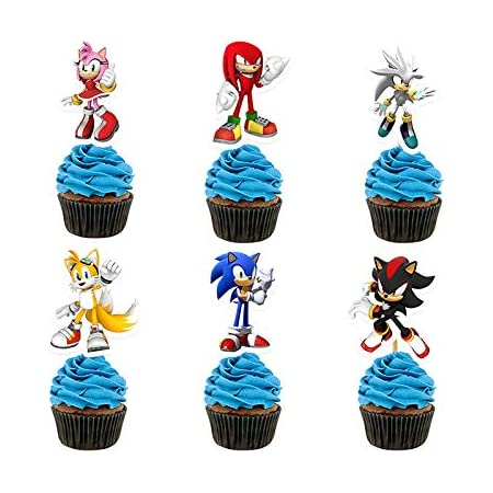 12 X Sonic Hedgehog Cake Picks Cupcake Toppers Kids Birthday Party Decorations