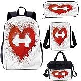 Juego de bolsas escolares para niños, de 43 cm, diseño de corazón rojo con mancuernas para el trabajo, la escuela, los viajes, picnic