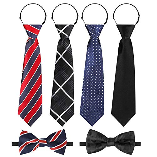 Hifot Corbatas Pajarita niño Set, Ajustable Negro Rojo Azul Corbatas niño 4 Piezas + Bebé Pajarita 2 Piezas