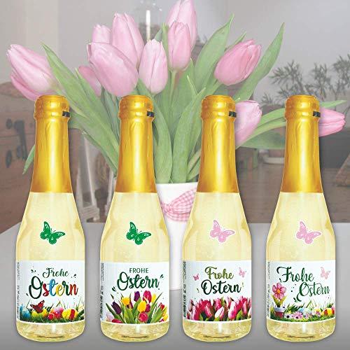 4x Piccolo 0,2l Geschenk zu Ostern Ostergeschenk: Frohe Ostern Beeren Perlwein Sekt Secco Beerenperlwein | Sekt halbtrocken | prickelnd frischer Perlwein aus weißen Beeren