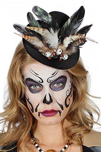 shoperama Voodoo Mini Hütchen mit Totenköpfen Strass und Federn Schwarz/Braun Hut Halloween Kostüm