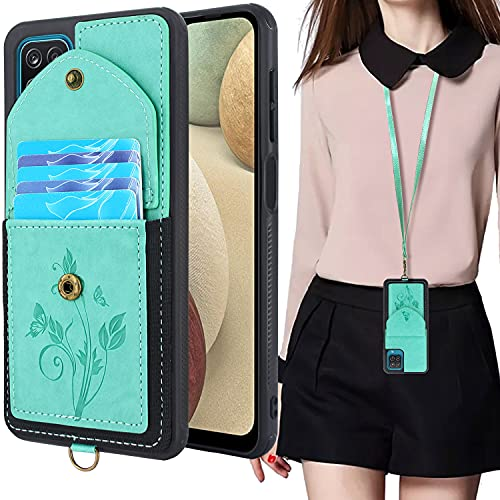 Lacass for Samsung Galaxy A12 A125M Case Slim Leather Wallet Protective Cover with Elastic Pocket Credit Card Slot Holder Detachable Neck Lanyard Strap (Butterfly Mint Green)