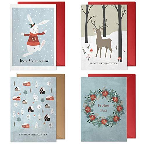 4er Weihnachtskarten Set mit Umschlägen: hochwertig, Nostalgie-Design für Kinder und Erwachsene (Schneehase, Elch/Rentier, Skandinavische Winterlandschaft, Weihnachtskranz) | Recycling-Papier
