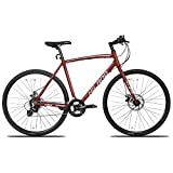 Hiland Road Hybrid Bike for Men Urban City Commuter Bicycle Red M