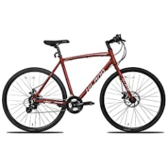 Matte wine red aluminum frame, plus with mechanical DISC-brake design.It's easy to accessorize with racks, a kickstand, fenders, lights, and more!! Road bike speed and hybrid bike versatility,SHIMANO 24(gears) speeds change system provide a stable sp...
