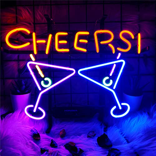 Neon Light Sign Cheers Neon Signs Real Glass Neon Sign Bar Signs Neon Lights for Bedroom Beer Bar Home Hanging Custom Neon Sign for Wall Decor Halloween Christmas Signs 17x14 Inch