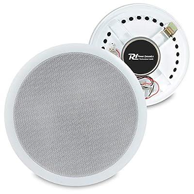 "Power Dynamics Pair White 100V Line 8"" Ceiling Speakers Home Office Bar Shop PD CSPB8"
