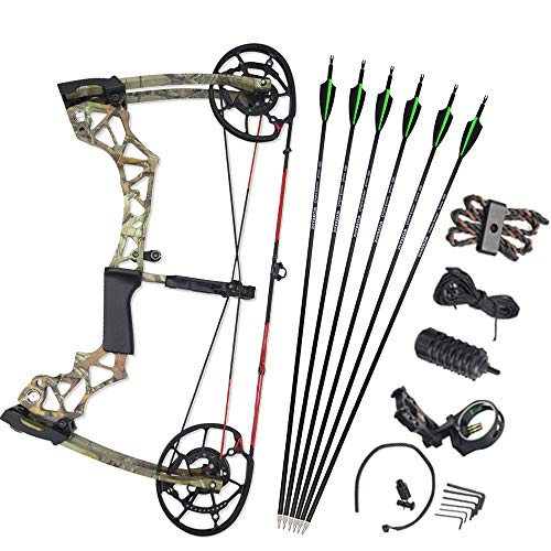 NMCPY Archery Compound Bow Set Adult Steel Ball Bow Adjustable Draw Weight 40-60lbs IBO 310FPS with Carbon Arrow for Outdoor Shooting Hunting Right Hand