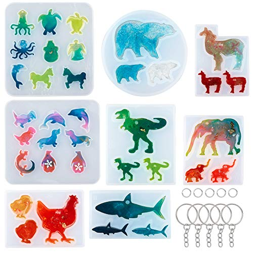PandaHall 8 pcs Animal Shape DIY Resin Jewelry Casting Silicone Molds with 20 pcs Key Rings 40 pcs 6mm Jump Rings for DIY Keychain Necklace Pendant Earrings Crayons Clay Crafts