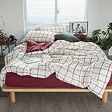 nobrand Bettbezüge Bettwäsche-Sets Solid Color Checkered Cotton Soft Bettbezug-Set Reißverschluss Mikrofaser-Bettwäsche-Set Plus-Kissen- Fade Stain Resistant Bettlaken Super King Size