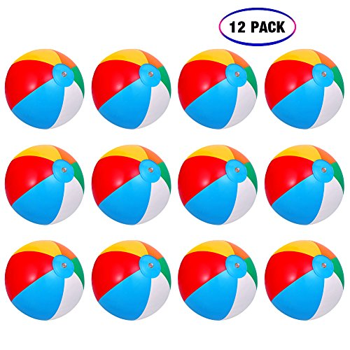 Inflatable Beach Balls[12PACK] 10' Rainbow Beach Balls Pool Party Balls Bulk Beach Balls Rainbow Colored Beach Toys Perfect for Beach Sand Pool Party Favors Swimming Water Toys for Kids.