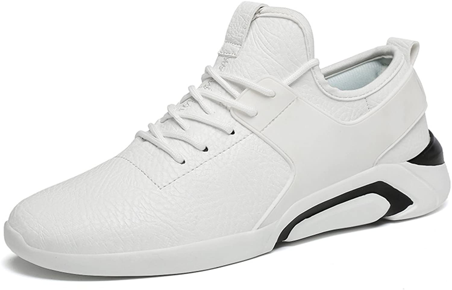 Shangruiqi Men's Athletic Sneakers The British Casual Style is All in Fashion with Lightweight Round Top and Low Top Running shoes Anti-Wear (color   White, Size   5 UK)
