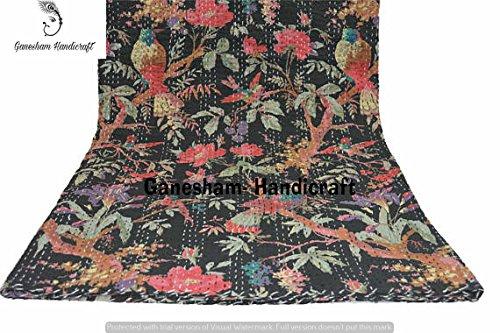 Couverture indienne hippie pour décoration de chambre - Broderie faite à la main - Couvre-lit bohème - Couvre-lit bohème - Couvre-lit indien - Kantha - Couvre-lit vintage