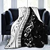 Delerain Piano Keys Music Note Soft Throw Blanket 40'x50' Lightweight Flannel Fleece Blanket for Couch Bed Sofa Travelling Camping for Kids Adults