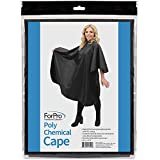 """ForPro Poly Chemical Cape, Professional Hair Salon Styling Cape with Adjustable Snap Closure, 58"""" L x 47"""" W"""