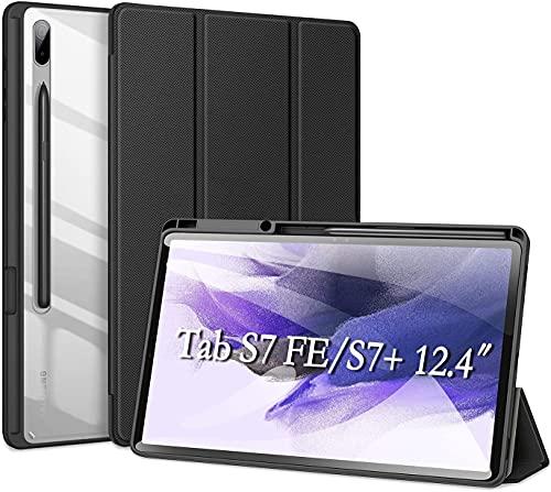 DUZZONA Custodia Cover per Samsung Galaxy Tab S7 Fe / S7 Plus 12.4 Pollici, Ultra Sottile Cover con Pencil Holder, Protettiva Custodia Rigida Sottile PC Traslucida per Galaxy S7 Fe, Nero
