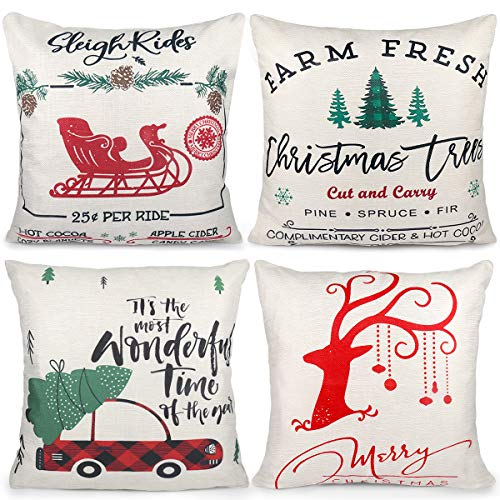 Christmas Pillow Covers, 4 Packs Soft Cotton Linen Square Cushion Case Pillowcase, Home Decor & Decorative for Christmas Trees Bedroom Couch Sofa Car(18 x 18 Inch)