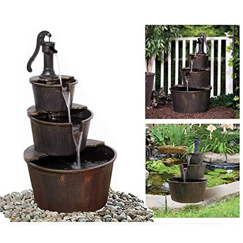 Wooden Effect Water Fountain Outdoor Cascading Feature Barrel Garden Deck 3 Tier