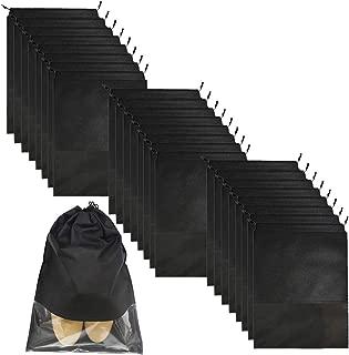 24 Pcs Black Travel Shoe Bag,Two sizes Non-Woven Storage PouchTransparent Slot Packing