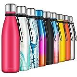 Borraccia Termica 500ml, Senza BPA, Bottiglia Acqua in Acciaio Inox Sottovuoto a Doppia Parete, per Campeggio di Sport Esterni Escursionismo Escursioni in Bicicletta, Rosa
