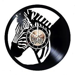 Zebra Record Clock, Zebra Wall Decor, Zebra Handmade Home Decor, Zebra Vinyl Wall Clock, Christmas Gifts