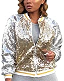 Women's Spring Autumn Fashion Zip Up Sequins Biker Bomber Jacket Baseball Jacket Casual Short Coat Outwear Party Club Stage Dress Gold S