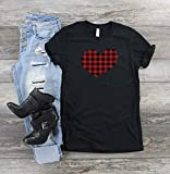 Buffalo Plaid Heart Valentine's Day Shirt Black And Red Checkered Top Cute Woman's Vday Tee